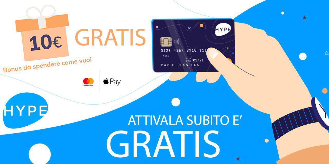 Carta Hipe ti regala 10 € e l'attivazione è gratuita!!!