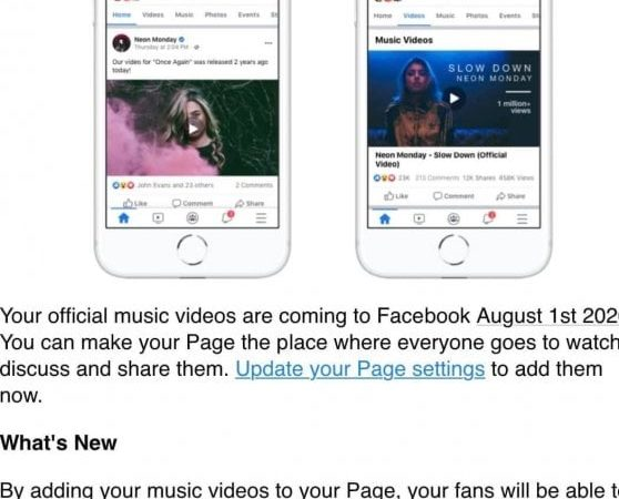 Facebook Vs YouTube: arrivano i video musicali sul social