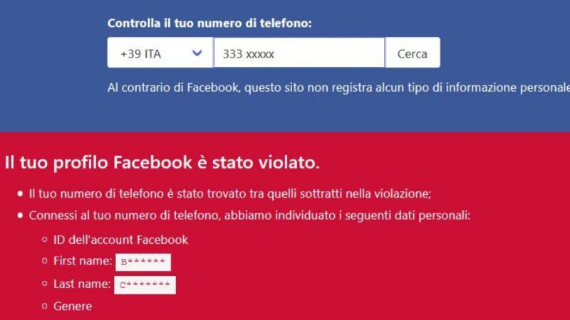 Si può cercare tra i dati rubati a Facebook. Ma il Garante ordina lo stop